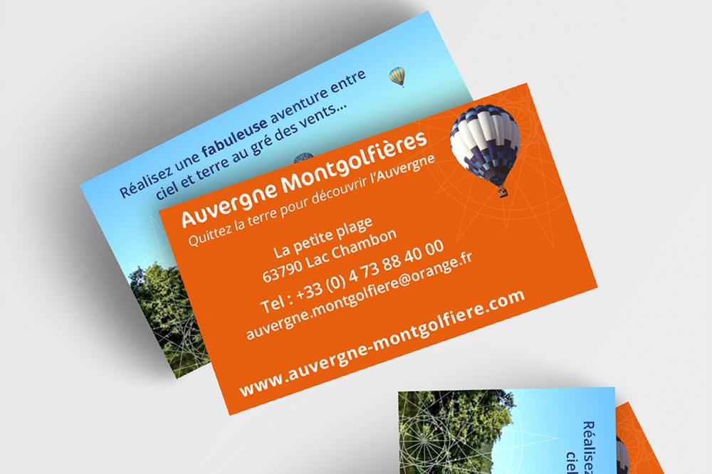 Carte de visite pour la société Auvergne Montgolfière